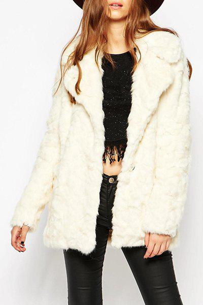 Casual Women's Turn-Down Collar Faux Fur Coat - OFF WHITE S