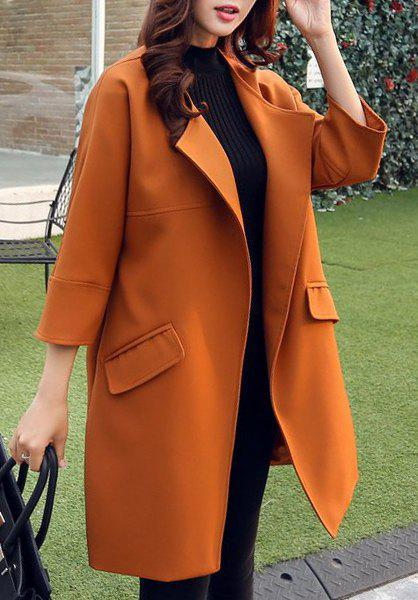 Trendy Women's Turn-Down Collar 3/4 Sleeve Solid Color Trench Coat - JACINTH S