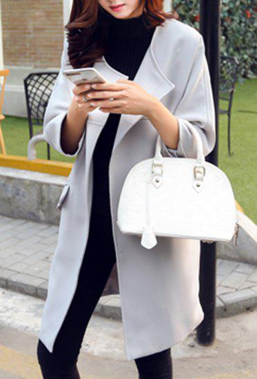 Trendy Turn-Down Collar 3/4 Sleeve Solid Color Trench Coat For Women