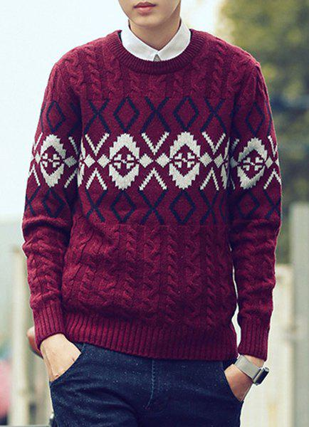 Casual Round Neck Color Block Geometric Twist Flowers Slimming Men's Long Sleeves Sweater - WINE RED L