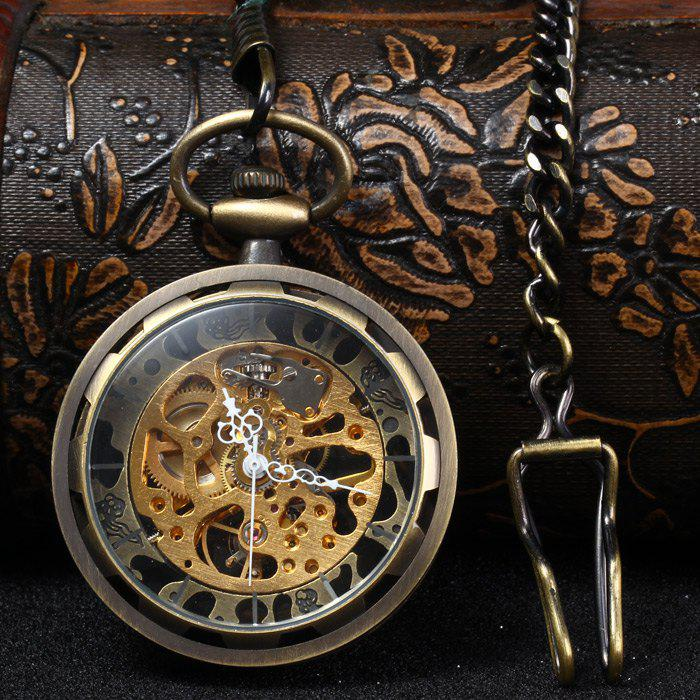 Hollow Out Style Mechanical Pocket Watch Chain Table - BRONZE
