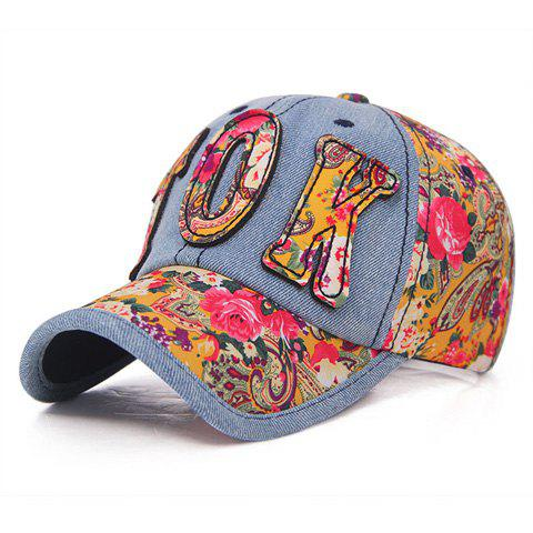 Chic Letter Shape Embellished Flowers Pattern Jeans Baseball Cap For Women - COLOR ASSORTED