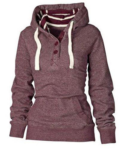 Stylish Striped Hooded Buttoned Pocket Pullover Hoodie For Women ...