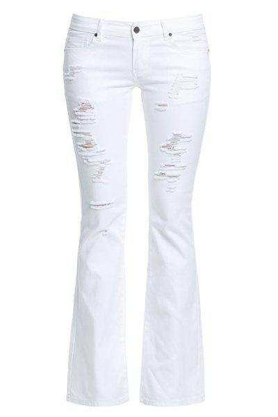 Chic Mid-Waisted Pure Color Broken Hole Women's Jeans - WHITE 27