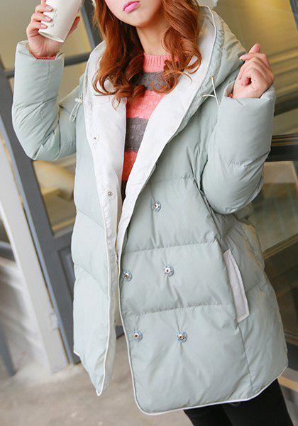 Sweet Hooded Long Sleeve Buttoned Pocket Design Women's Down Coat