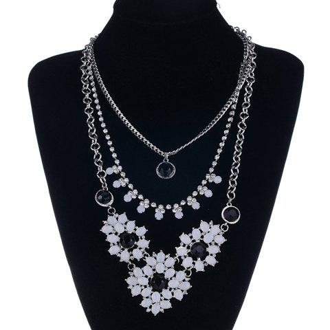 Vintage Rhinestone Flower Layered Necklace For Women - SILVER