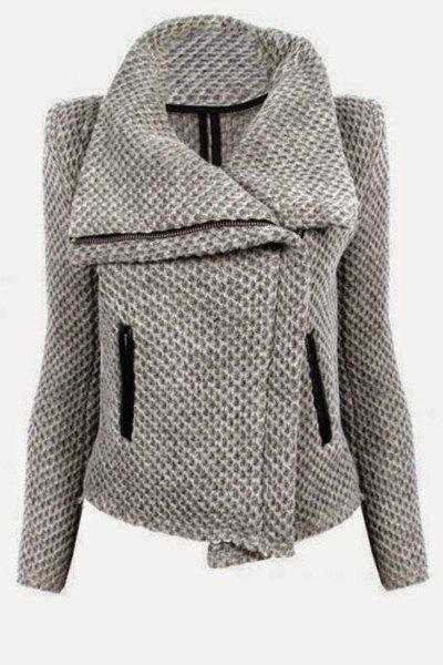 Casaul Zippered Turn-Down Collar Mesh Knitted Coat For Women