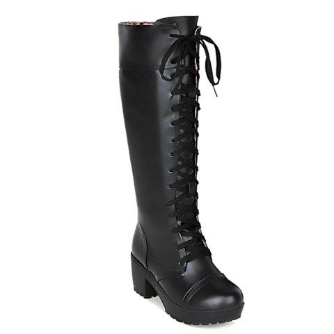 Laconic Lace-Up and Chunky Heel Design Mid-Calf Boots For Women