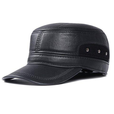 Stylish Sewing Thread and Stud Embellished Men's PU Military Hat - BLACK