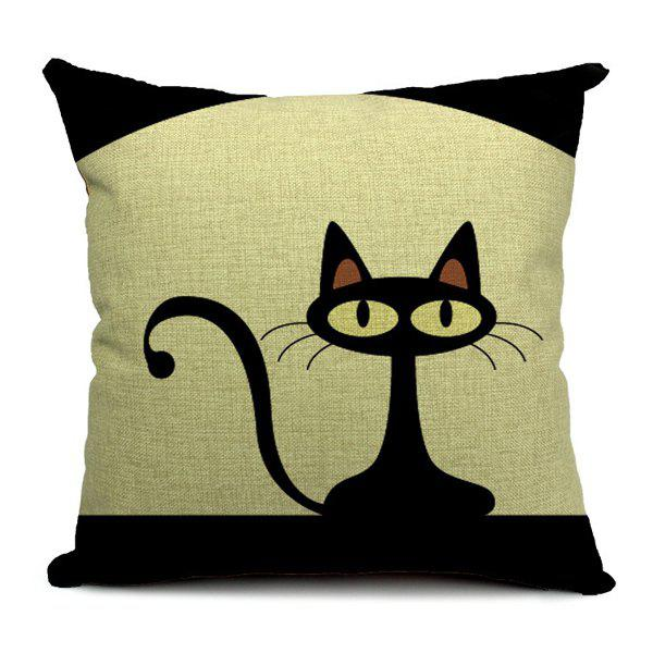 Simple New Black Cat Pattern Pillow Case (Without Pillow Inner) - WHITE/BLACK
