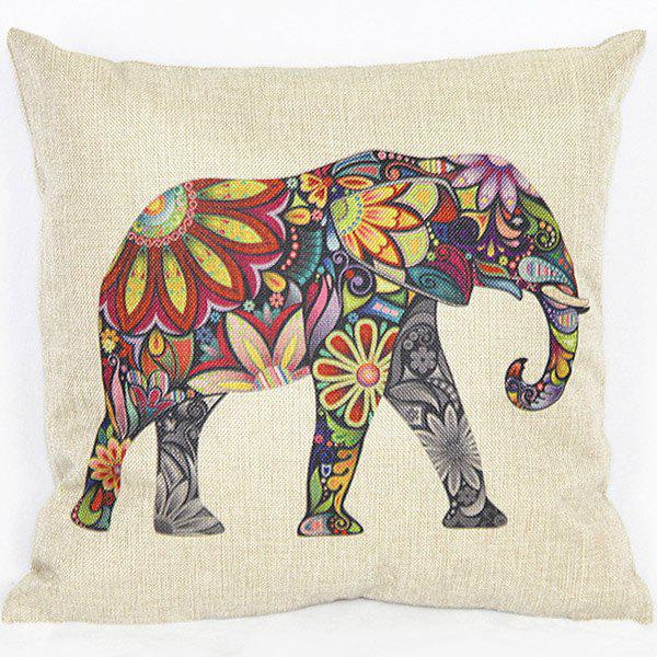 Fashionable Colorful Elephant Printed Square Composite Linen Blend Pillow Case - COLORMIX