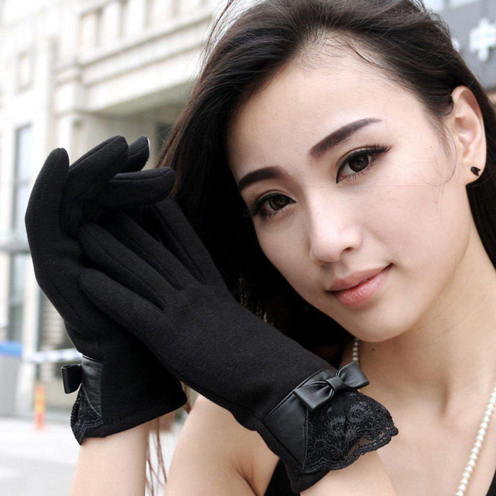 Pair of Elegant Lace Decoration Touch Screen Gloves For Women - BLACK