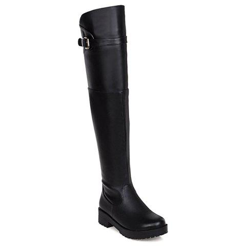 Stylish Zipper and Low Heel Design Thigh Boots For Women