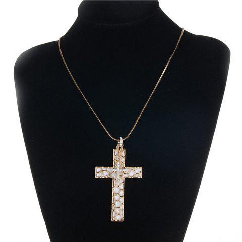 Chic Rhinestone Cross Pendant Necklace For Women - GOLDEN