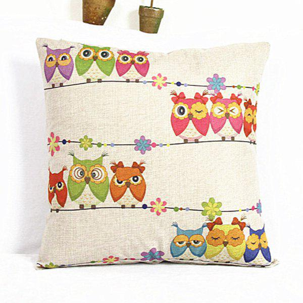 Lovely Colorful Cartoon Owl Printed Square Composite Linen Blend Pillow Case