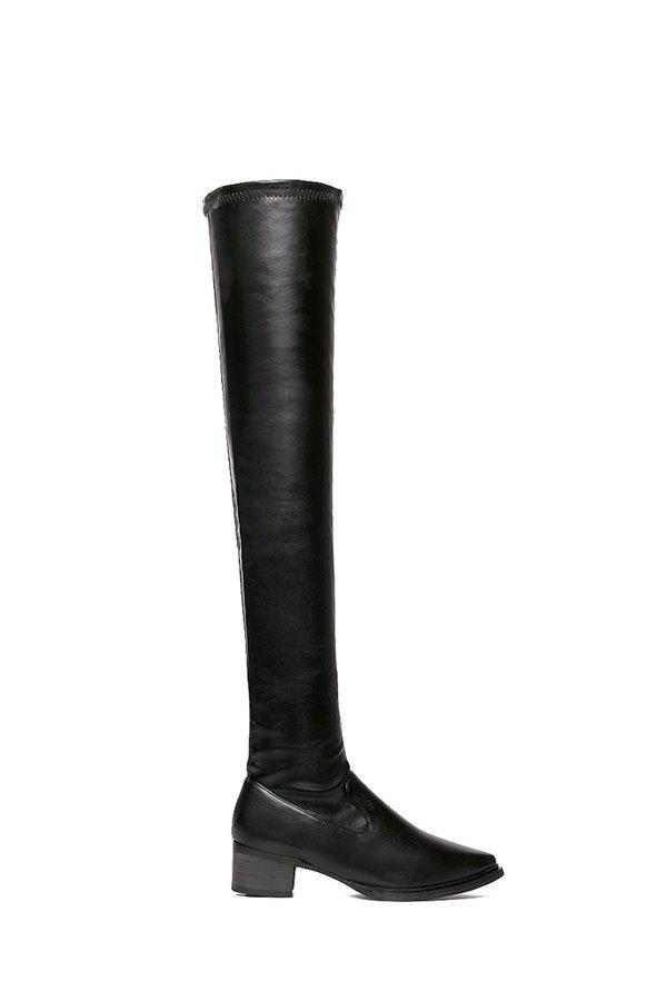 Simple Style Pointed Toe and Black Design Women's Over The Knee Boots - BLACK 38
