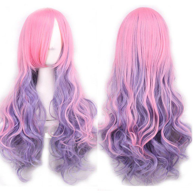 Fluffy Wavy Side Bang Long Pink Ombre Purple Trendy Synthetic Lolita Style Women's Cosplay Wig - OMBRE 2