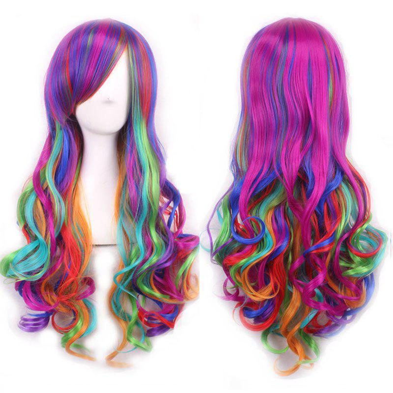 Shaggy Wavy Synthetic Harajuku Long Side Bang Fashion Colorful Ombre Cosplay Wig For Women charming long straight synthetic harajuku golden pink ombre full bang cosplay wig for women