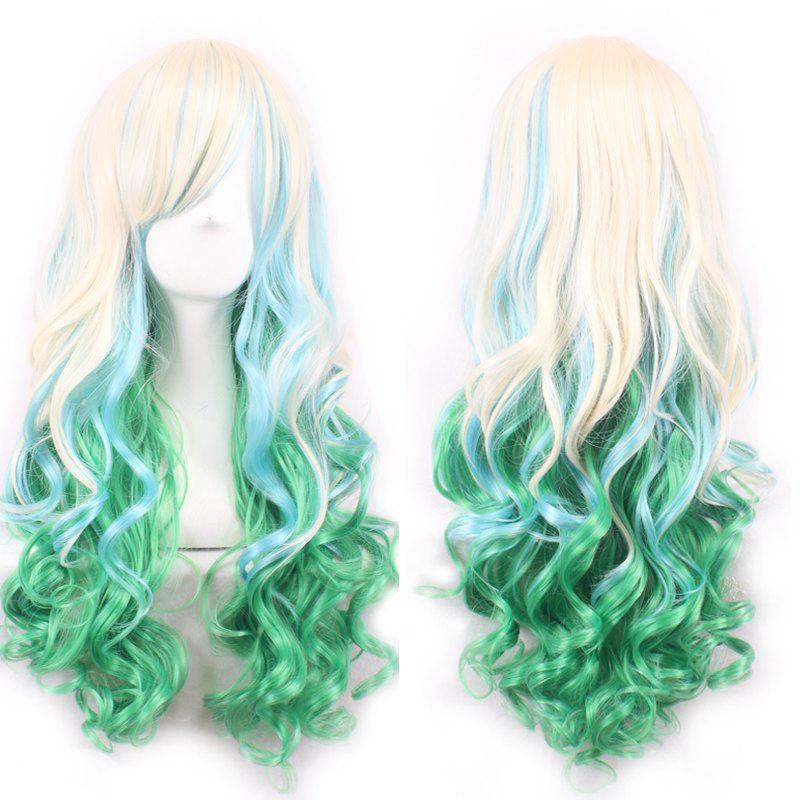 Three Color Gradient Charming Side Bang Shaggy Wavy Long Synthetic Women's Cosplay Wig - OMBRE