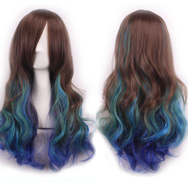 Trendy Inclined Bang Multicolor Gradient Long Shaggy Wavy Synthetic Costume Play Wig For Women
