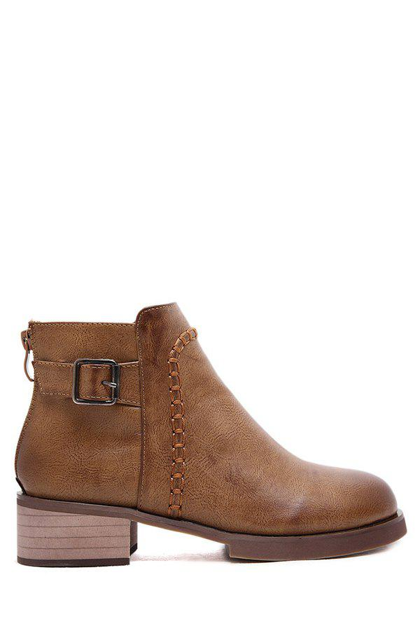 British Style Buckle and Zipper Design Women's Ankle Boots - BROWN 36