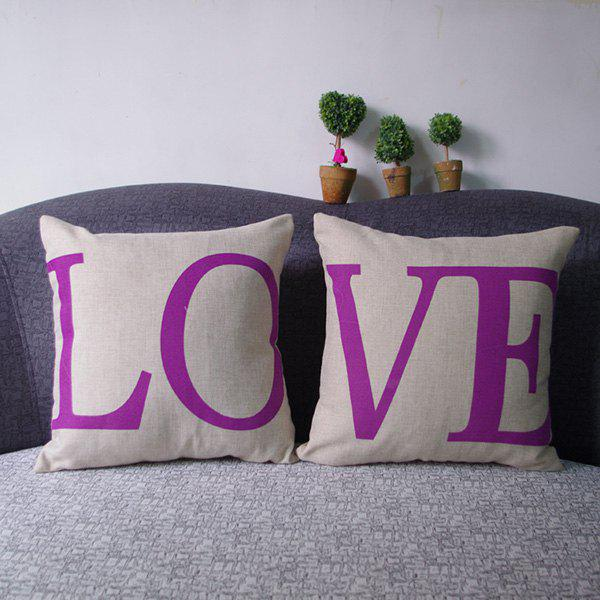 Romantic Letter Printed Couple New Square Composite Linen Blend Pillow Case - RANDOM COLOR PATTERN