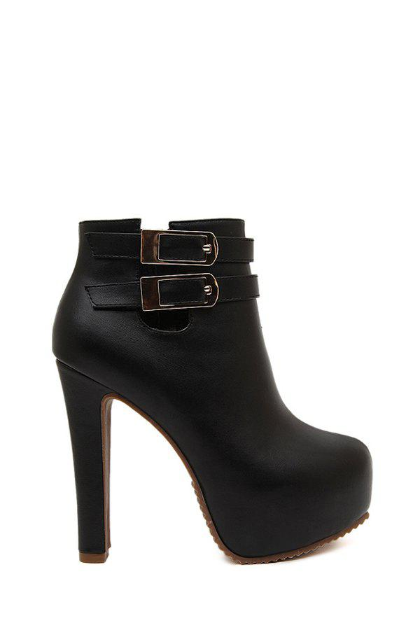 Sexy Buckles and Zipper Design Women's High Heel Boots - BLACK 37