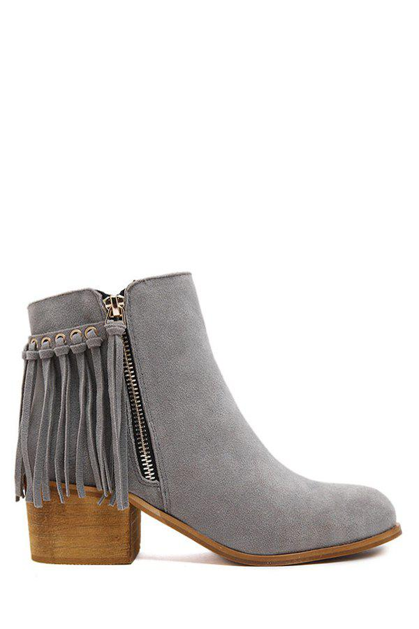 Retro Tassel and Suede Design Women's Ankle Boots - GRAY 37