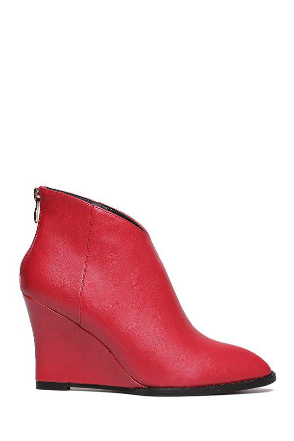Simple Wedge Heel and Zipper Design Women's Short Boots - RED 37