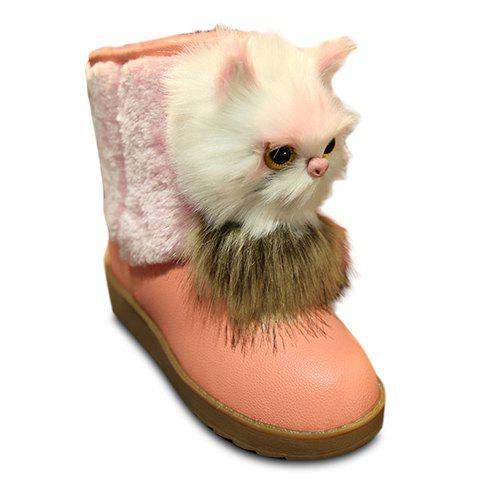 Fashionable Platform and Colour Block Design Snow Boots For Women - PINK 35