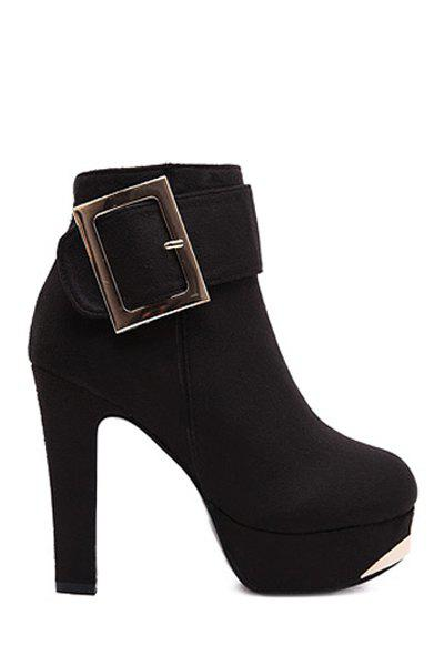 Sexy Metallic Buckle and Suede Design Women's High Heel Boots - BLACK 34