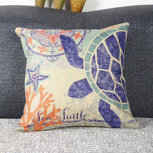 Fashionable Colorful Turtle Printed Square Composite Linen Blend Pillow Case - AS THE PICTURE