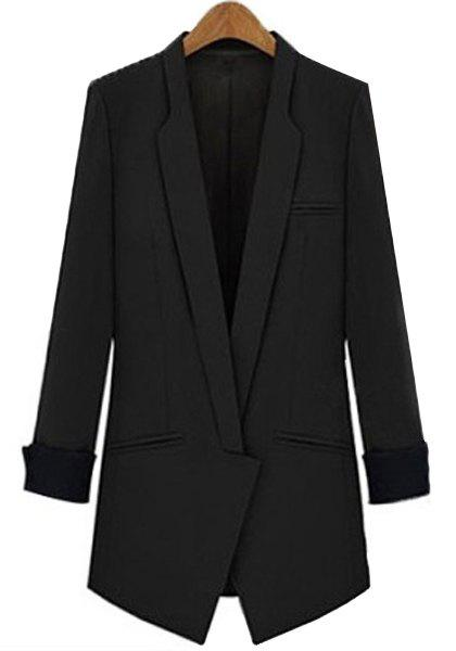 Slimming Lapel Long Sleeve Blazer - BLACK XL