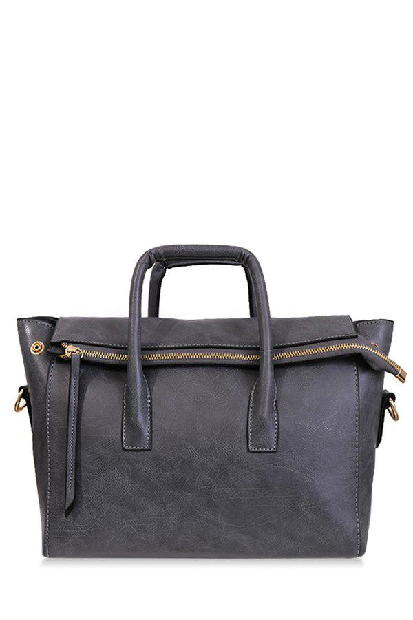 Concise Zipper and Stitching Design Women's Toet Bag - GRAY