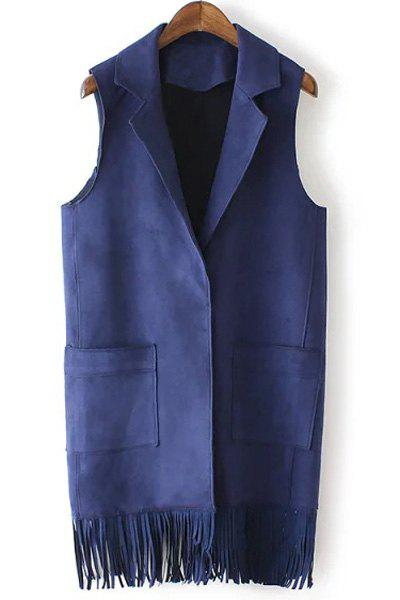 Chic Turn-Down Neck Sleeveless Fringed Pure Color Women's Waistcoat - CADETBLUE M