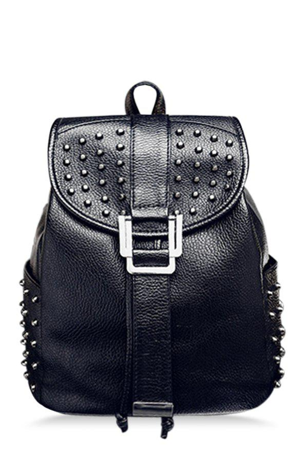 Trendy Rivet and Embossing Design Women's Satchel - BLACK