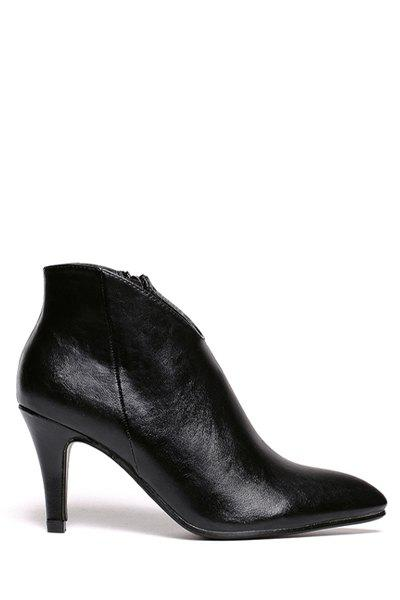 Simple Stiletto and Pointed Toe Design Women's Ankle Boots - BLACK 37