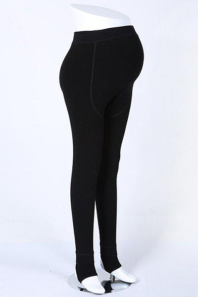 Stylish Women's Stretch Solid Color Maternity Leggings - ONE SIZE(FIT SIZE XS TO M) BLACK