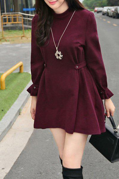 Chic Long Sleeve Solid Color A-Line Dress For Women - WINE RED L