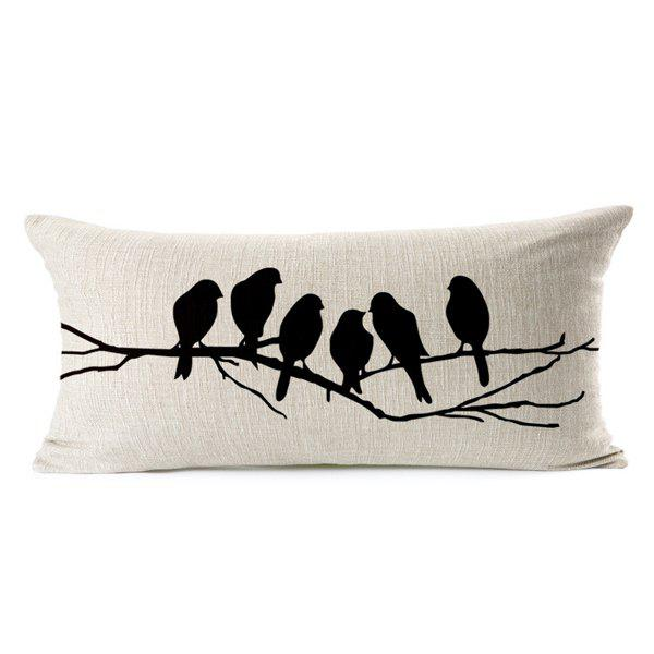 Chic Creative Bird and Branch Pattern Pillow Case (Without Pillow Inner) - WHITE/BLACK