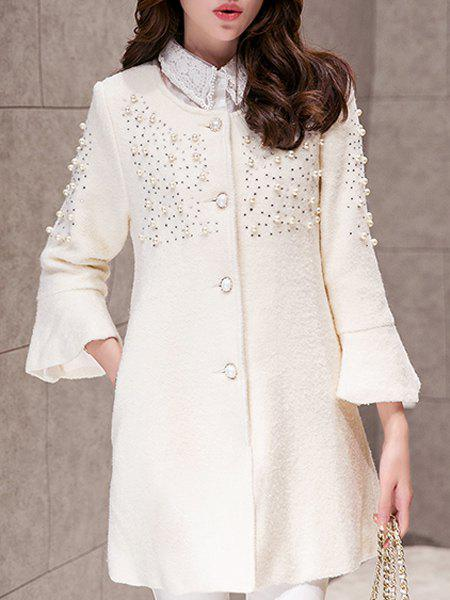 Chic Long Sleeve Round Neck Beaded Women's Coat - OFF WHITE S