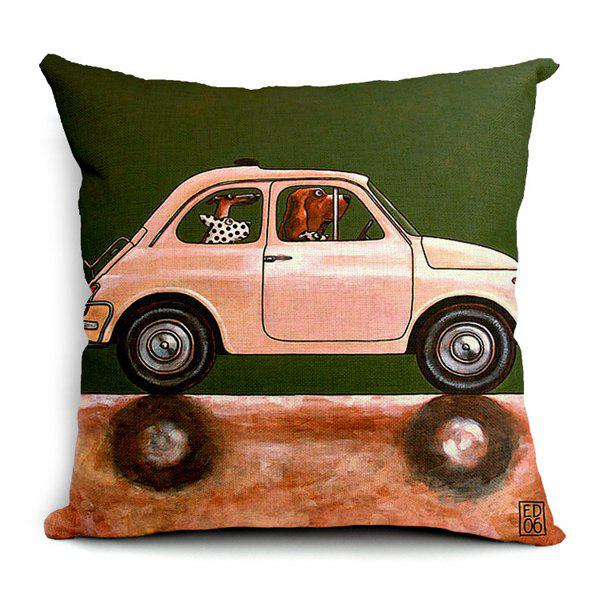 Simple Creative Cartoon Car and Dog Pattern Pillow Case (Without Pillow Inner)