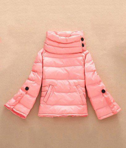 Fresh Style Solid Color Stand Collar Pleated Loose Down Coat For Women - PINK M