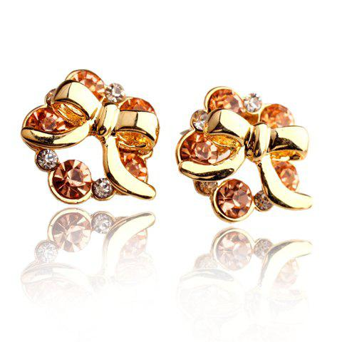 Pair of Stunning Rhinestone Bow Earrings For Women - GOLDEN
