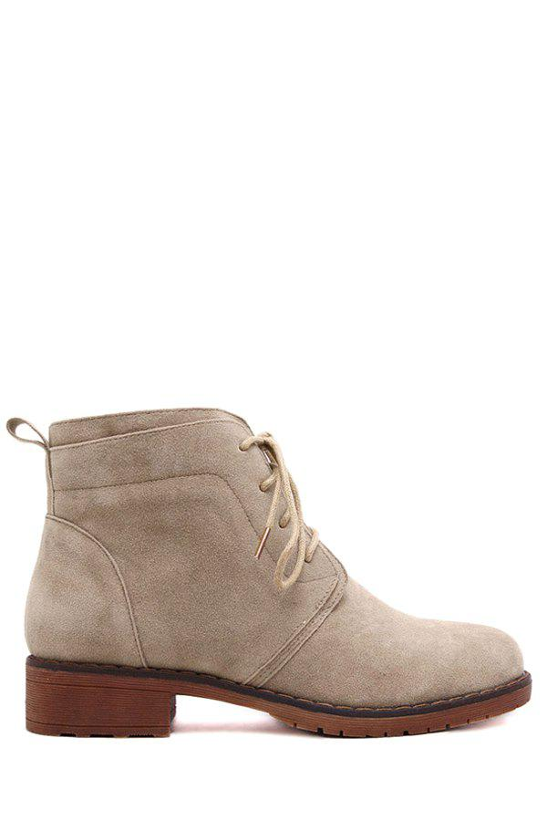 British Style Lace-Up and Suede Design Women's Combat Boots - APRICOT 39