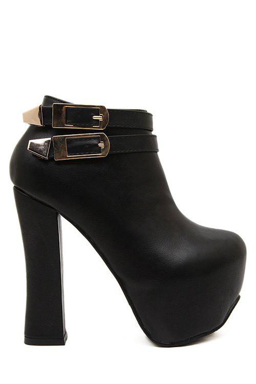 Party Buckle and Chunky Heel Design Women's Ankle Boots - BLACK 39