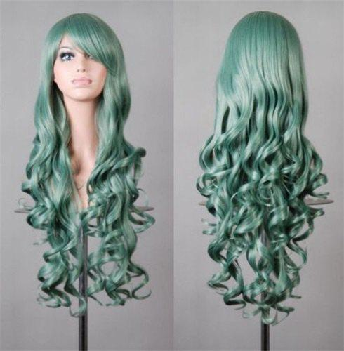Fluffy Wavy Assorted Color Harajuku Long Fashion Side Bang Synthetic Women's Cosplay Wig - MINT GREEN