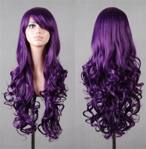 Fluffy Wavy Assorted Color Harajuku Long Fashion Side Bang Synthetic Women's Cosplay Wig - PURPLE