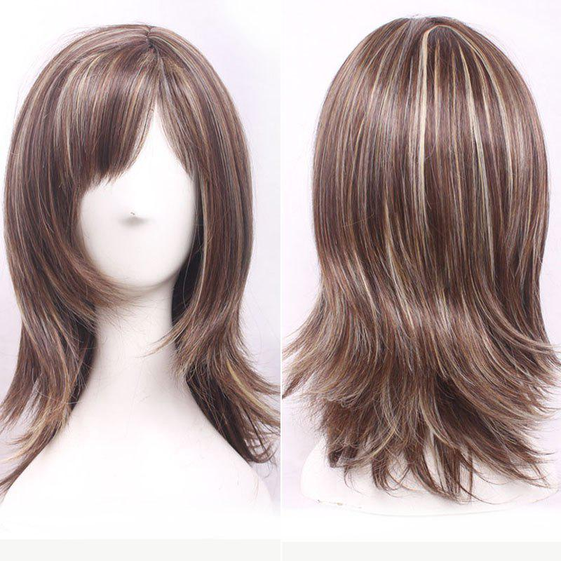 Brown Mixed Blonde Capless Elegant Side Bang Straight Synthetic Shaggy Medium Women's Wig