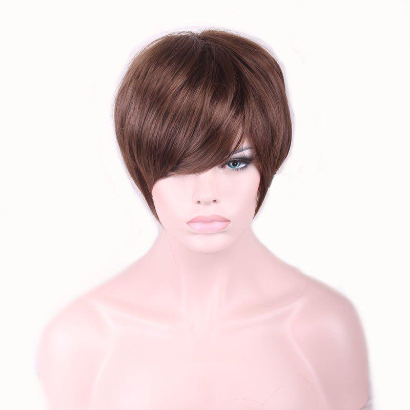 Stylish Brown Inclined Bang Spiffy Short Heat Resistant Fiber Straight Capless Wig For Women - BROWN